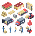 ware house isometric icons set vector image vector image