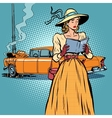 Woman crash car retro funny vector image vector image