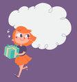 Cartoon Girl Running with Present vector image