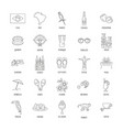 brazil icons set line style vector image