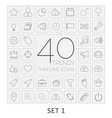 40 Thin Line Icons Set 1