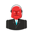 angry call center red man with headset aggressive vector image