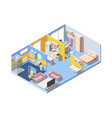apartment interior isometric concept vector image