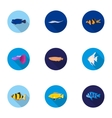 Aquarium fish set icons in flat style Big vector image