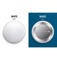 blank white glossy badge or button 3d render vector image