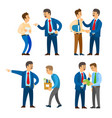 boss angry with worker sacked person with boxes vector image vector image
