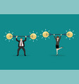 businessman and woman lifting exercise vector image