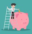 businessman climb up a ladde putting coin a piggy vector image vector image