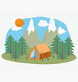 camping tent forest mountains vacations activity vector image