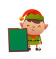 cartoon cute christmas elf with message board on vector image vector image