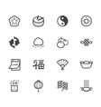 chinese new year black icon set on white backgroun vector image vector image