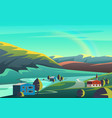 colorful cartoon landscape vector image vector image