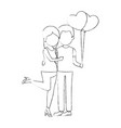cute couple in love with balloons air vector image