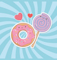delicious and sweet donut and products kawaii vector image vector image