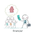 financier gives money to people to build a house vector image vector image