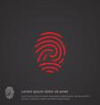 fingerprint outline symbol red on dark background vector image vector image
