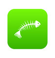 fish bones icon digital green vector image