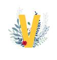 floral alphabet letter v vector image vector image