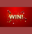 golden win sign on red background vector image