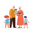 grandparents are standing with their grandchildren vector image