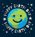 happy earth day poster in retro style greeting vector image vector image