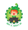 happy st patricks day leprechaun with pot of gold vector image vector image
