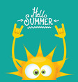 hello summer funky rock n roll label vector image vector image