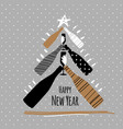 holiday new year greeting postcard with champagne vector image vector image