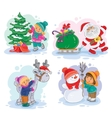 icons small children decorate christmas tree vector image vector image