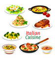 italian pasta with sauces meat and fish dishes vector image vector image