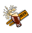 logo a beer glass with foam splashes on vector image