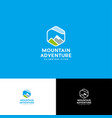 logo mount adventure hexagon peaks alpinism vector image vector image