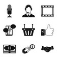 master the technology icons set simple style vector image vector image
