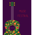 Music festival poster with guitar vector image