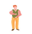 obese man touching his fat belly smiling vector image vector image