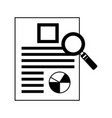office report round chart magnifying glass vector image vector image