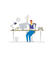 office worker - flat design style colorful vector image