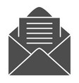 opened envelope solid icon mail letter with paper vector image vector image