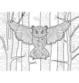 Owl in forest coloring book for adults