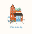 postcard template with facade of cute store shop vector image vector image