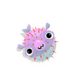 puffer fish or blow fish kids fun cartoon hand vector image