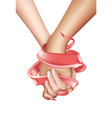 realistic holding hands isolated vector image vector image