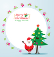 santa claus and tree characters icons and frame vector image vector image