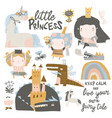 set cute little princesses dragons and magic vector image