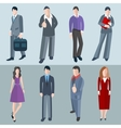 Set isolated office men and women workers vector image vector image