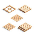 set isometric wooden pallets vector image vector image