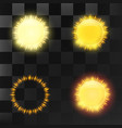 set of bright transparent sun and sun elements vector image vector image