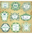 set of green and blue calligraphic design frames vector image vector image