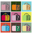set of icons in flat design for airport baggage vector image vector image