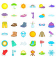summer weather icons set cartoon style vector image
